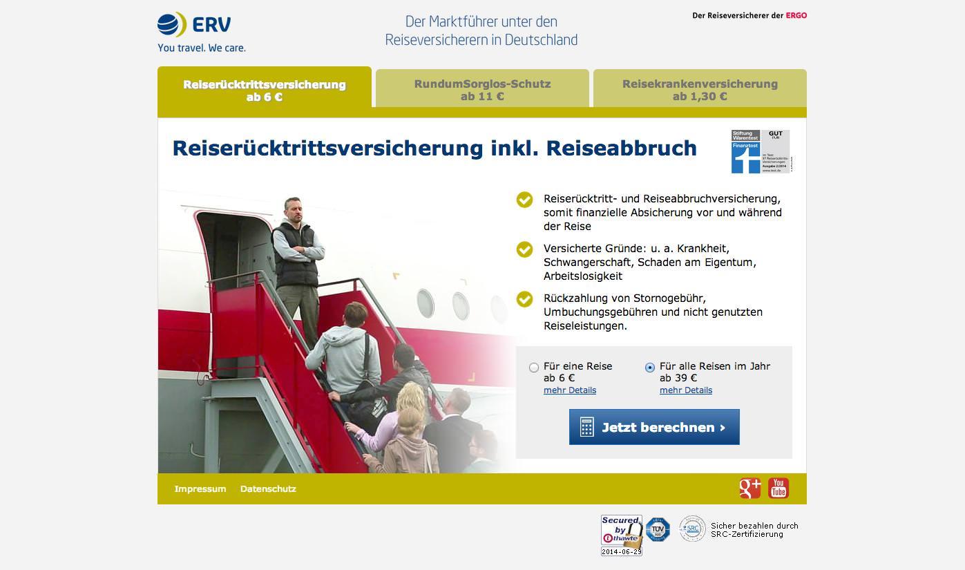 ERV Reiseversicherung Landingpage
