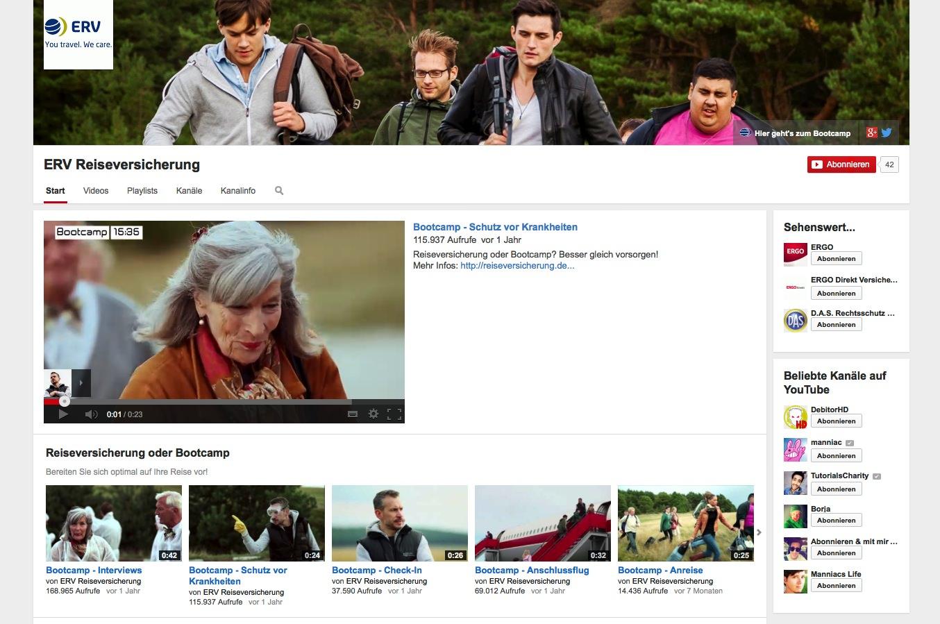 ERV Reiseversicherung YouTube Channel